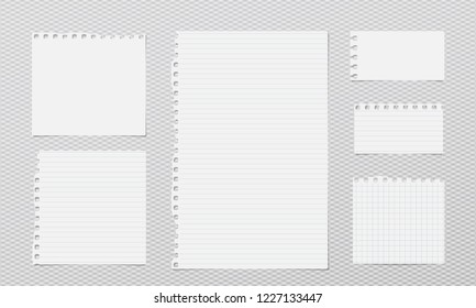 White lined note, notebook paper strips with torn edges stuck on grey squared background. Vector illustration.