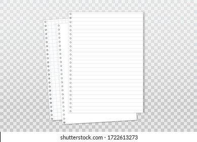 White, lined note, notebook paper with soft shadow are on squared background for text. Vector illustration