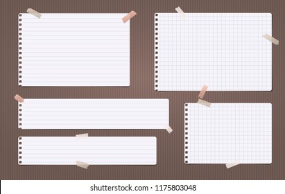 White lined and squared note, notebook paper stuck on brown backgroud. Vector illustration.