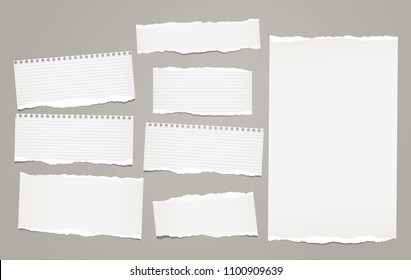 White lined torn note, notebook paper pieces for text stuck on gray background. Vector illustration.