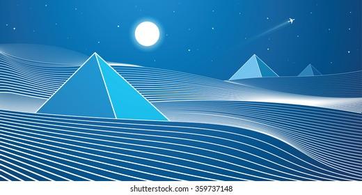 White lines, sand dunes, mountains, desert, night panorama, pyramid, vector design art