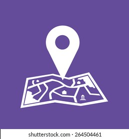 White Location Icon on Map and Purple Background. Editable EPS10 Vector and large jpg illustration