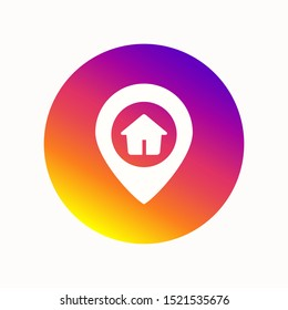 White location label on a colorful round button. Instagram location pin. Location pin icon. Locating the label in the colors of instagram. Vector illustration