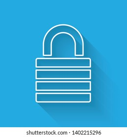 White Lock line icon isolated with long shadow. Padlock sign. Security, safety, protection, privacy concept. Vector Illustration