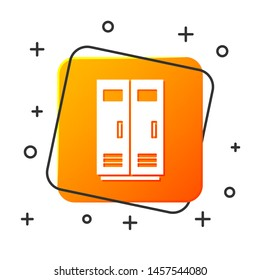 White Locker or changing room for football, basketball team or workers icon isolated on white background. Orange square button. Vector Illustration