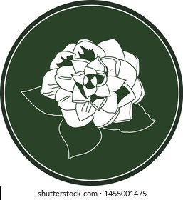 White logo camellia flower on a dark green background. Celtic astrological calendar of the druids. Symbol of a flower in a circle. For natural themes. Chalk drawing on blackboard