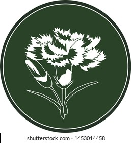 White logo carnation flower on a dark green background. Celtic astrological calendar of the druids. Symbol of a flower in a circle. For natural themes. Chalk drawing on blackboard