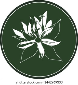 White logo gentian flower on a dark green background. Celtic astrological calendar of the druids. Symbol of a flower in a circle. For natural themes. Chalk drawing on blackboard