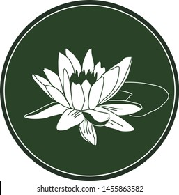 White logo lotus flower on a dark green background. Celtic astrological calendar of the druids. Symbol of a flower in a circle. For natural themes. Chalk drawing on blackboard