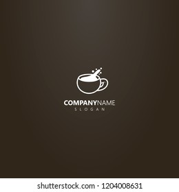 white logo on a black background. simple vector outline logo of spilled coffee cup or other hot drink