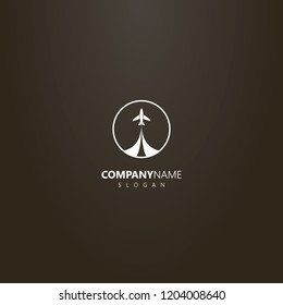 white logo on a black background. simple vector isolated logo of take-off airplane in a round frame