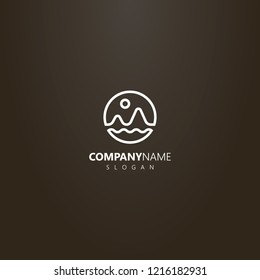 white logo on a black background. simple vector line art logo of the landscape of two mountains, the sun and the waves of water