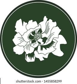 White logo pion flower on a dark green background. Celtic astrological calendar of the druids. Symbol of a flower in a circle. For natural themes. Chalk drawing on blackboard