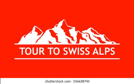 White Logo of Swiss Mountains isolated on White Background. Vector Emblem with Alps of Switzerland.