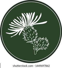 White logo thistle flower on a dark green background. Celtic astrological calendar of the druids. Symbol of a flower in a circle. For natural themes. Chalk drawing on blackboard
