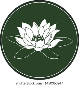 White logo water lily flower on a dark green background. Celtic astrological calendar of the druids. Symbol of a flower in a circle. For natural themes. Chalk drawing on blackboard