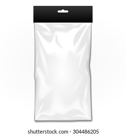 White Long Black Blank Plastic Pocket Bag. Transparent. With Hang Slot. Illustration Isolated On White Background. Mock Up Template Ready For Your Design. Vector EPS10