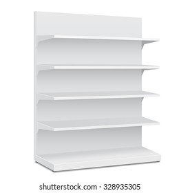 White Long Blank Empty Showcase Displays With Retail Shelves. 3D Products On White Background Isolated. Ready For Your Design. Product Packing. Vector EPS10