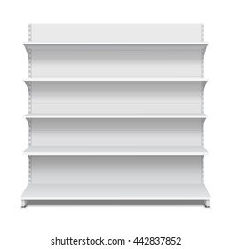 White Long Blank Empty Showcase Displays With Retail Shelves Front View 3D Products On White Background Isolated. Ready For Your Design. Product Advertising. Vector EPS10