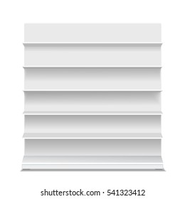 White long blank empty showcase displays with retail shelves front view vector Isolated