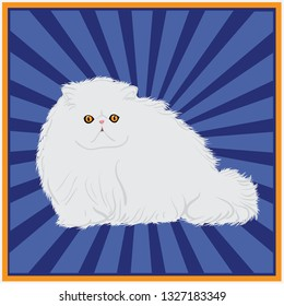 White long hair persian cat, cute and adorable. Suitable for logo design, brochure or other commercial purposes. It is full vector.