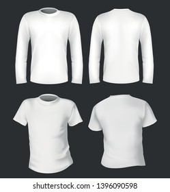 White long and short tshirt template vector