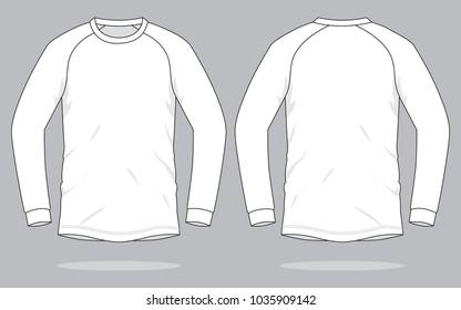 White Long Sleeve T-shirt  : Slope Shoulder Stripe