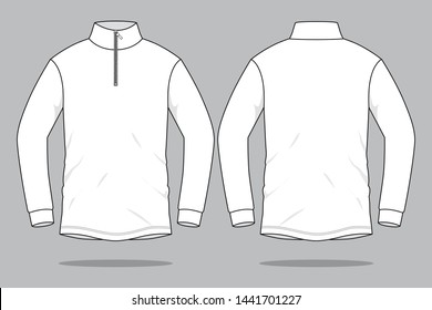 White Long Sleeve T-Shirt for Template (Stand Up Collar) : Zipper Placket