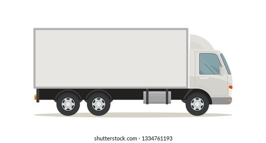 White long truck with blank area, side view. Vector illustration, flat design style. Isolated on white background.