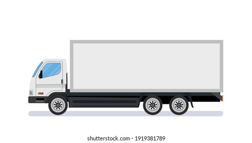 White long truck template with blank area, side view. Isolated on white background. delivery truck van. Online delivery service concept. Vector illustration in flat style