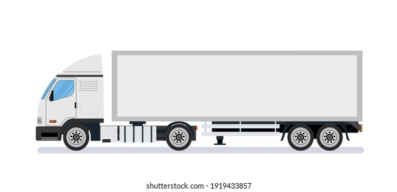White long truck template, lorry, semitrailer, side view. Isolated on white background. delivery truck van. delivery service concept. Vector illustration in flat style