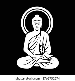 White The Lord Buddha sitting meditated on black background clip art illustration vector design