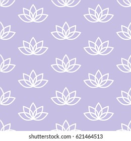 white lotus on a light purple background pastel zen pattern seamless vector.