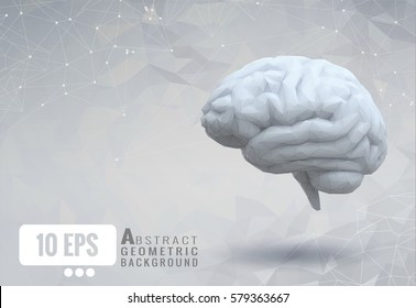 White low poly brain on abstract geometry paper template background