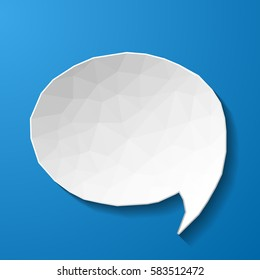 White low poly speech bubble on blue background. Vector eps10 illustration