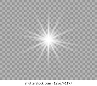 White luminous transparent light. Vector Christmas star, a bright flash of light. Glitter element on isolated transparent background. With the possibility of overlay.