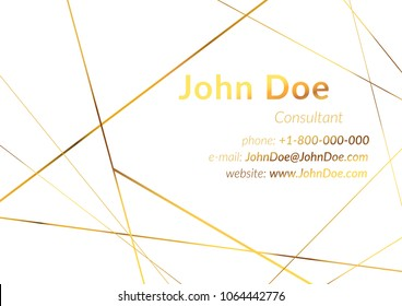 White luxurious name business card with metallic golden frame and text. Art deco style gold polygonal modern graphic design layout. Vector illustration