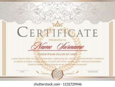 White luxury certificate in the Royal style Vintage, Rococo, Baroque, glamour. With pearlescent glow and gold. Decorated with classic floral ornament, columns, flouris, crown