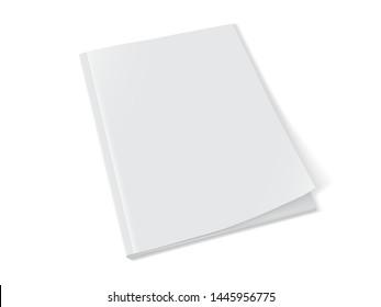 white magazine on white background mock up vector