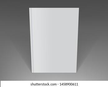 white magazine standing on dark background mock up vector
