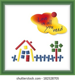White magnetic board with green frame showing a colorful and idyllic fixer-upper build from small blocks with a cloud-shaped note paper saying Love is all you need, vector illustration