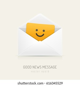White mail envelope with orange card inside having happy smiley face. Vector illustration
