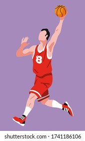 A white male basketball player jumps to catch the rebound ball. He wears a red jersey with white bands and the number 8. Isolated on plain background editable vector illustration.