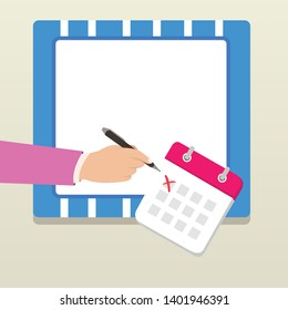 White Male Businessman or Office Worker in Formal Suit Crosses Off One Day From Calendar with Red Ink Ballpoint Pen. photo photo. Flat Style Design