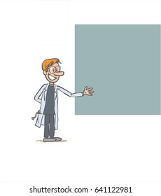 white male doctor showing something. The character keeps a positive attitude. Vector illustration to isolated and funny cartoon character.