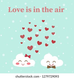 White male and female cloud with cute smile face on pastel blue  background in love emotion on Valentine day look like dating and so sweet. Beautiful wallpaper with snow dot and red heart float in sky