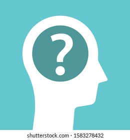 White male head silhouette with one big question mark. Hesitation, guess, psychology, doubt and problem concept. Flat design. EPS 8 vector illustration, no transparency, no gradients
