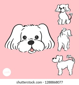 white maltese dog charming doggy adorable pup lovely puppy cute sweet pet character front and back and side set funny cartoon vector illustration