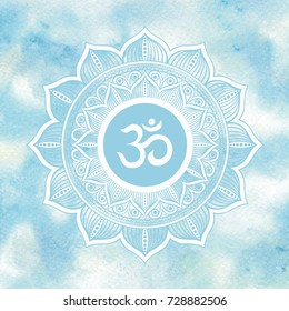 White mandala with om symbol on hand drawn watercolor sky and clouds background. Vector art