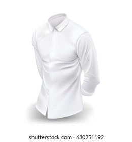 White man's realistic shirt. Vector illustration
